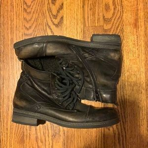 Distressed army boots